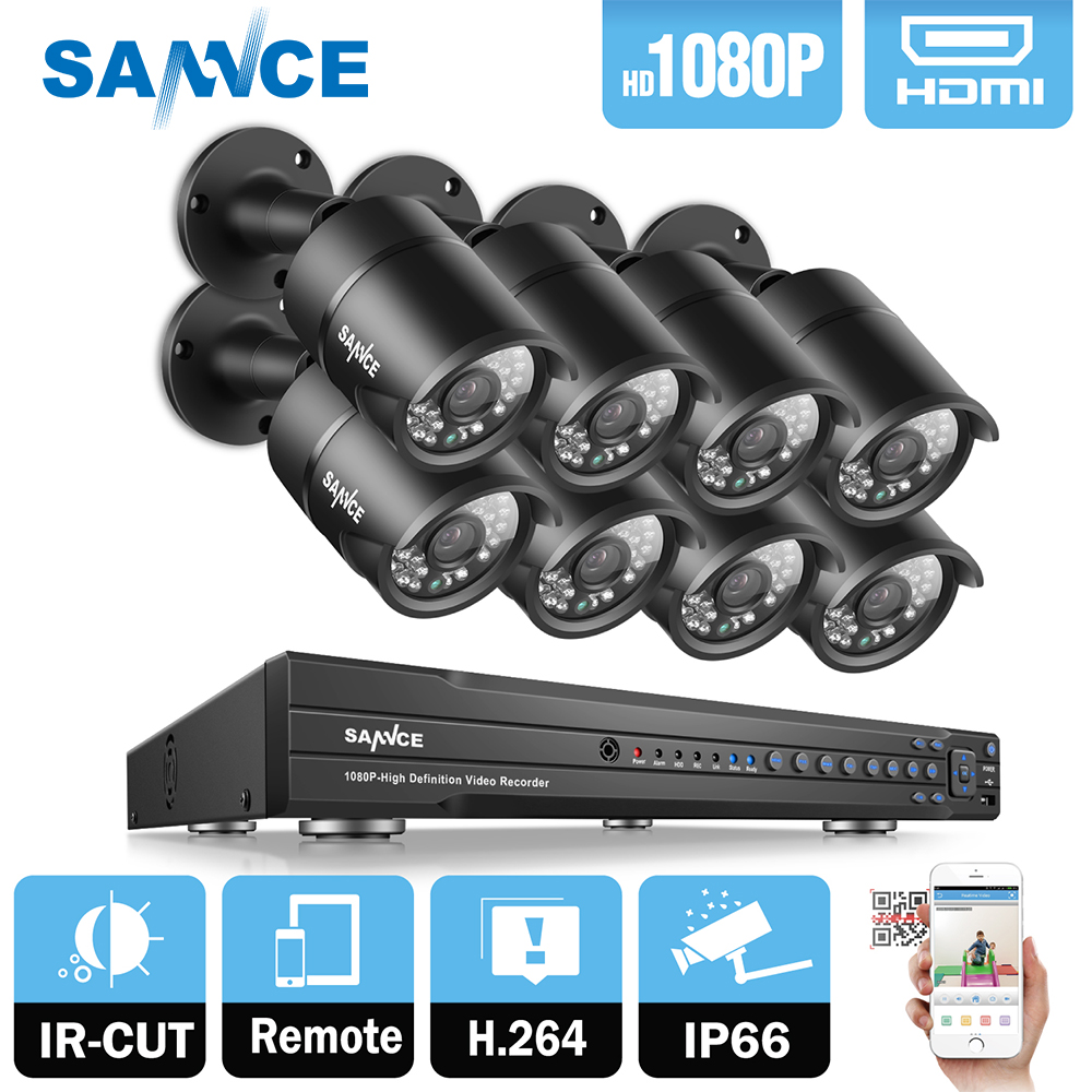 SANNCE 16CH HD 1080P CCTV System 8pcs 1080P 2.0MP Security Cameras Outdoor Waterproof IP66 night vision CCTV Surveillance KitSANNCE 16CH HD 1080P CCTV System 8pcs 1080P 2.0MP Security Cameras Outdoor Waterproof IP66 night vision CCTV Surveillance Kit