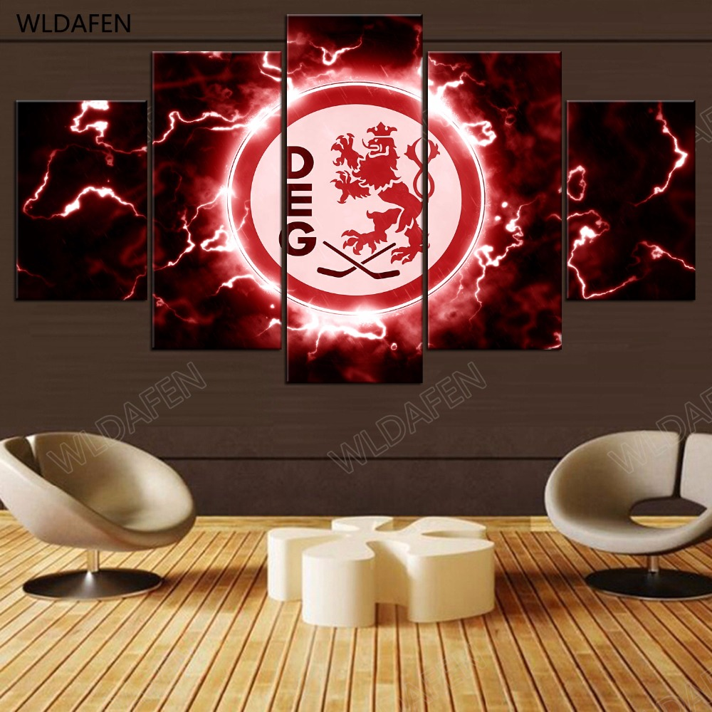 5 Pieces Sports Team Deco Fans Posters Oil Painting On Canvas Modern Home Pictures Prints Decor Living Room PH4-1825