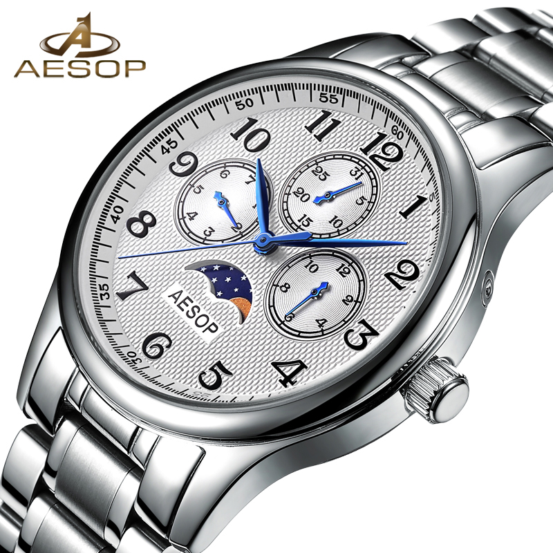 AESOP Watch Men Quartz Moon Phase Wristwatch Famous Brand Waterproof Male Clock Stainless Steel Relogio Masculino Hodinky Top 27 fashion top brand watch men automatic mechanical wristwatch stainless steel waterproof luminous male clock relogio masculino 46