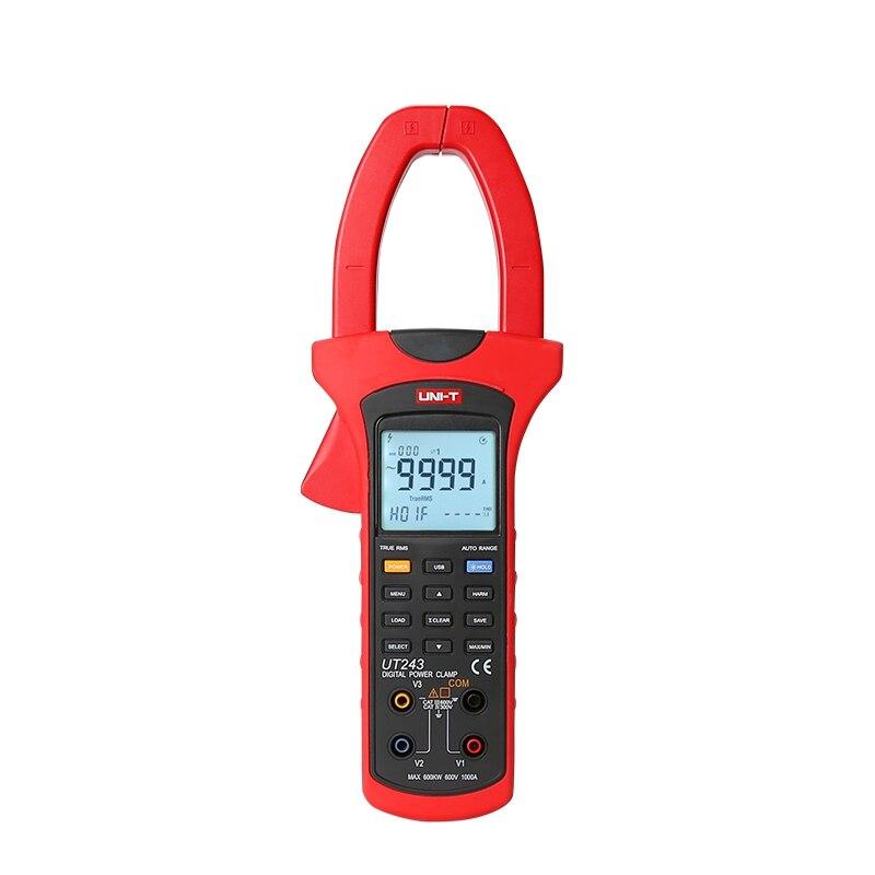 UNI T UT243 pince de puissance numérique mètre 1000A véritable RMS gamme automatique harmoniques pince testeur 1 ou 3 phases USB interface PC logiciel