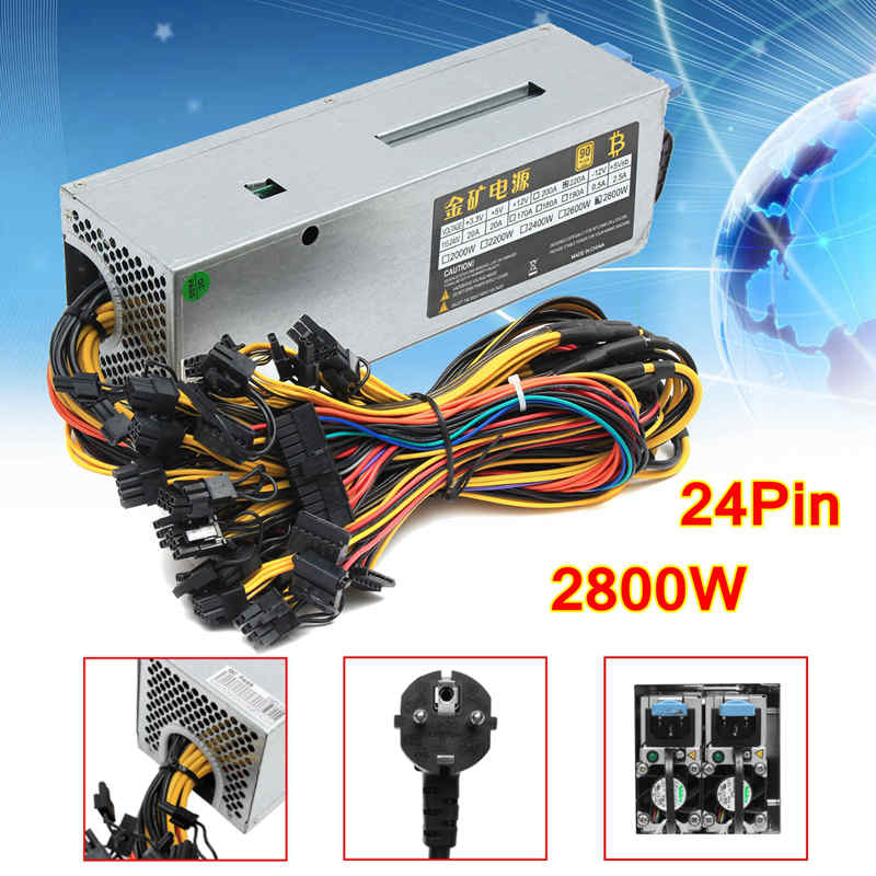95% Efficiency 2800W 24Pin 12GPU Mining Power Supply For Eth Rig Ethereum Bitcoin Miner  ...