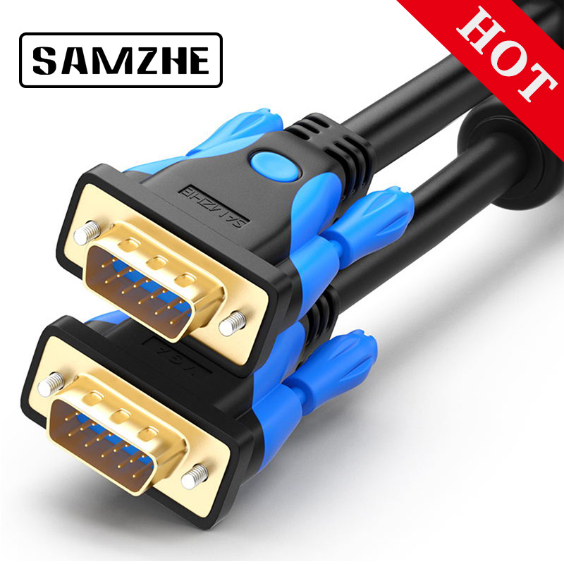 SAMZHE 1080 p Cable VGA Cable chapado en oro 1,5 conector M VGA Cable 2 m 3 M 5 M para computadora monitor proyector de pantalla