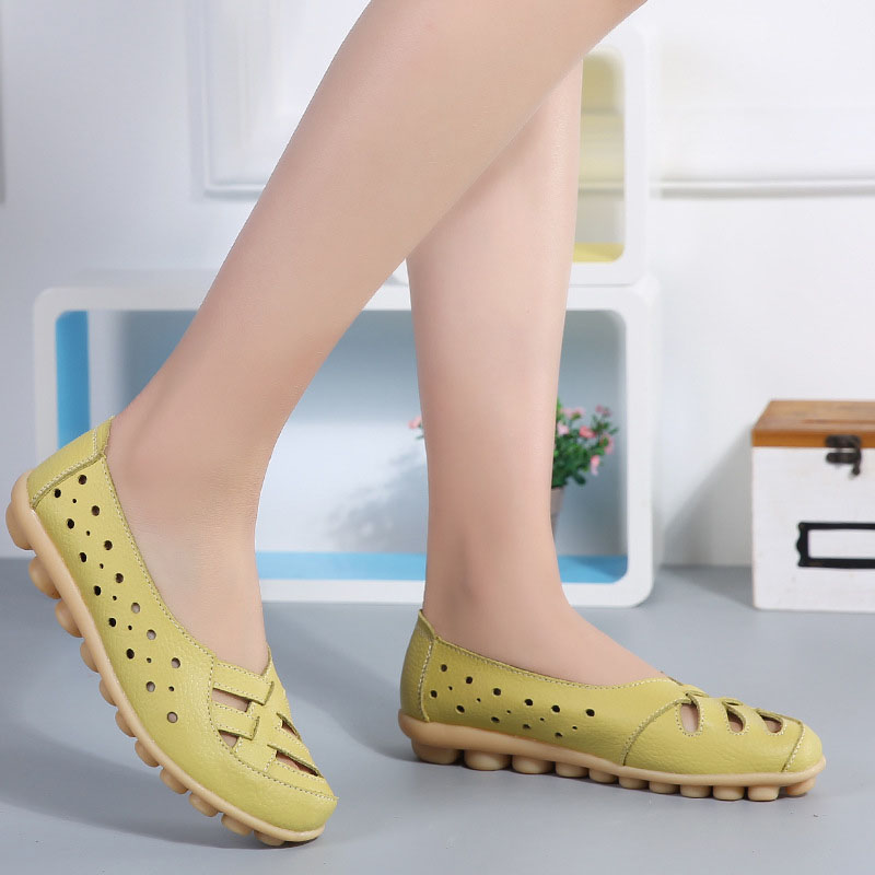 Women Shoes Hollow Breathable Women Genuine Leather Shoes Female Loafers Casual Ballerina Flats Shoes Lady Plus Size Moccasins handmade vintage women shoes genuine leather female moccasins loafers soft comfortable casual shoes flats plus size 35 40
