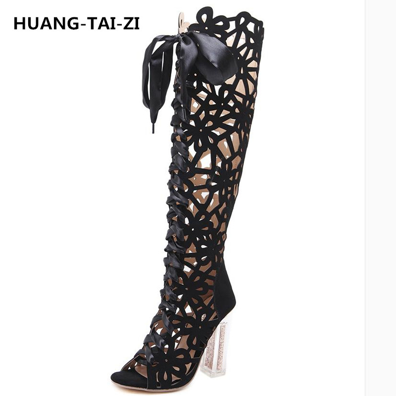 HUANGTAIZI Brand Design Sexy Cut-Outs Open Toe Knee-High Summer Boots Stiletto Heel Hollow Out Gladiator Woman Slim Summer Boots
