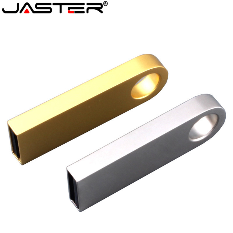 JASTER Waterproof Mini USB Flash Drive Silver Gold Metal Pen Driver 64GB 8GB 16GB 32GB 128GB Memory Stick Pendrive Flash Card