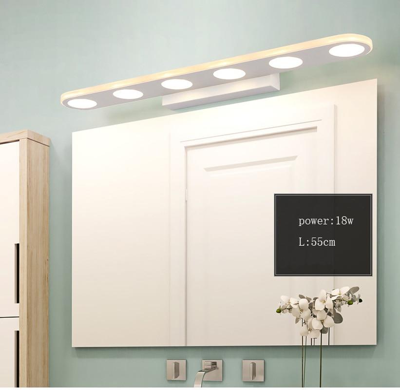 Minimaliste LED miroir lumière industrielle applique murale applique 12W18W acrylique intérieur éclairage maquillage toilette étanche salle de bain lumière