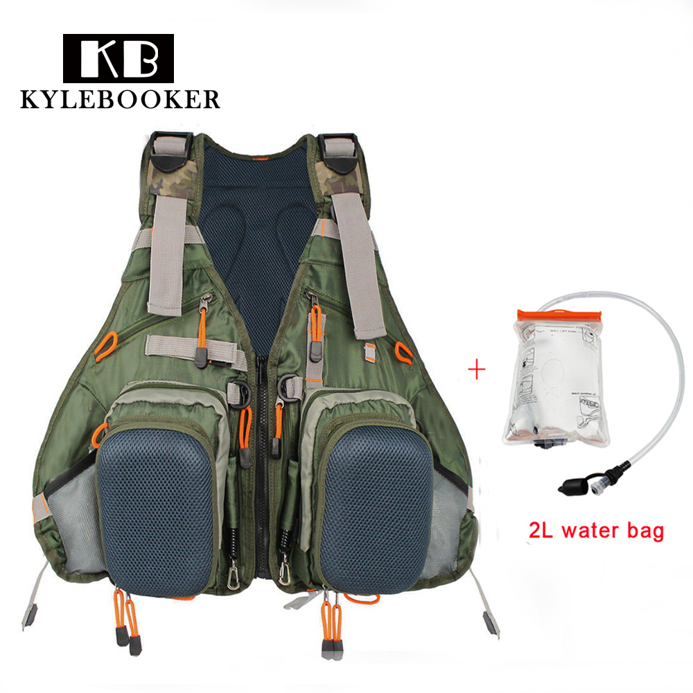 Fly Fishing Vest Fishing Backpack Outdoor sports Fishing Jacket Backpack Fishing gear Bag with 2L Hydration Water Pack Bladder
