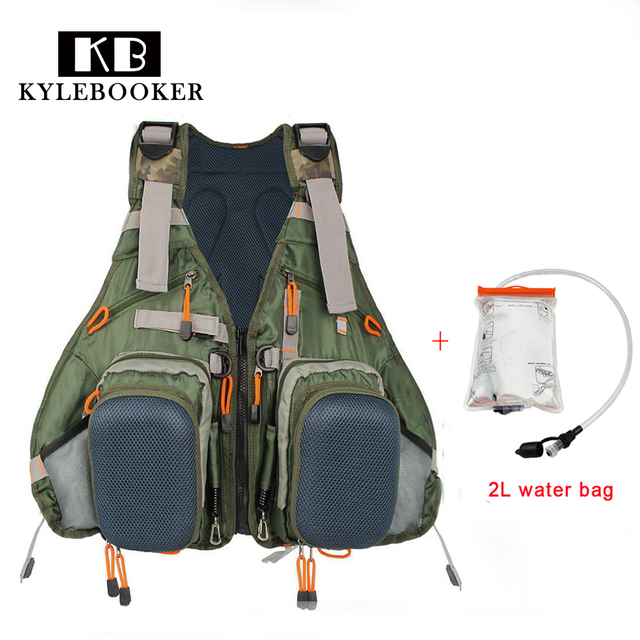 Fly Fishing Vest Backpack Outdoor Sports Jacket Gear Bag With 2l Hydration