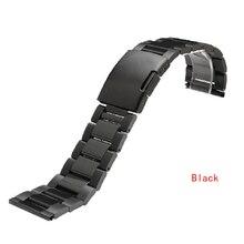 Correa de acero inoxidable links solid click hebilla negro plateado anchura 22 mm 24 mm 26 mm 28 mm 30 mm relojes de pulsera de metal pulsera de la venda
