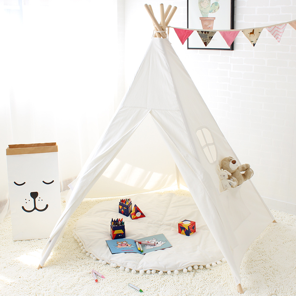 Five Poles Kids Tent Pure Color Indian Teepee Children's Play Tent Cotton Canvas Tipi For Baby Playhouses For Kids 150*150cm four poles kids play tent cotton canvas teepee children toy tent white pink blue playhouse for baby room tipi