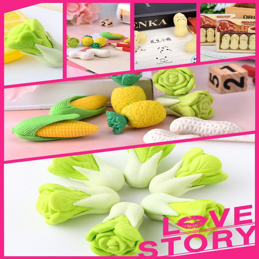 Limit Shows Available Cartoon Cute Vegetable Rubber Eraser  School Supplies Office Stationery Novelty Pencil Correction Supplies