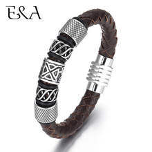 Trendy Men Brown / Black Woven Leather Bracelet with 316L Stainless Steel Viking Beads Man Magnet Clasp Braided Bangle Jewelry
