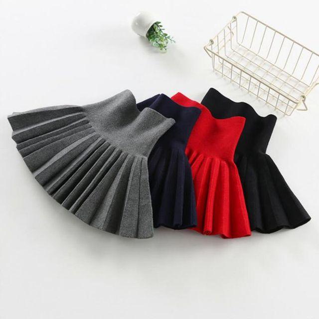 e479a128de54 2017 Children s Skirt Kids Pleated Wool Blend Skirt Knit Toddlers ...