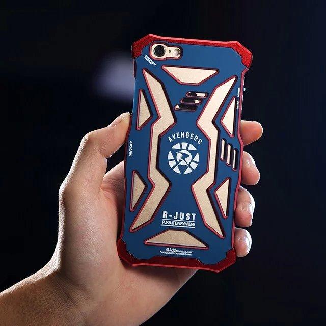 bilder für R-nur Handy Fall Marvel the Avengers Superhelden Iron Man Metallabdeckung/Cases Für iPhone 6/6 s Iron Man Loki Kapitän Telefon