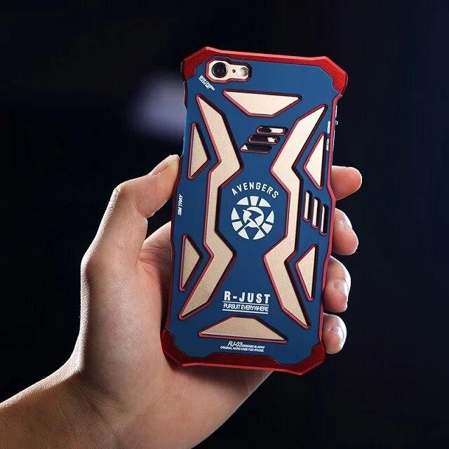 imágenes para R-sólo Caja Del Teléfono Celular de Superhéroes de Marvel los Vengadores Iron Man Cubierta de Metal/Fundas Para iPhone 6/6 s Iron Man Loki Capitán Teléfono