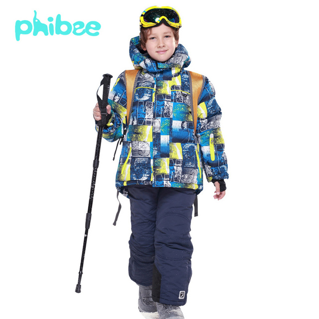 13184a1b8b70 PHIBEE Outdoor Fleece Warm Ski Suit Children Kids Waterproof Coat ...