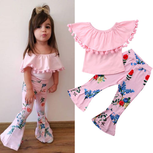 2019 Brand New Toddler Infant Child Kid Baby Girls Clothes Outfits T-shirt Tops +Flare Pants Leggings 2Pcs Set Floral Sunsuit