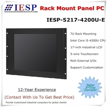 Rack Mount industrial panel PC, Core i5-4200U CPU, 17 inch LCD, 4GB RAM, 500GB HDD, 4*RS232/4*USB/1*GLAN, Industrial HMI