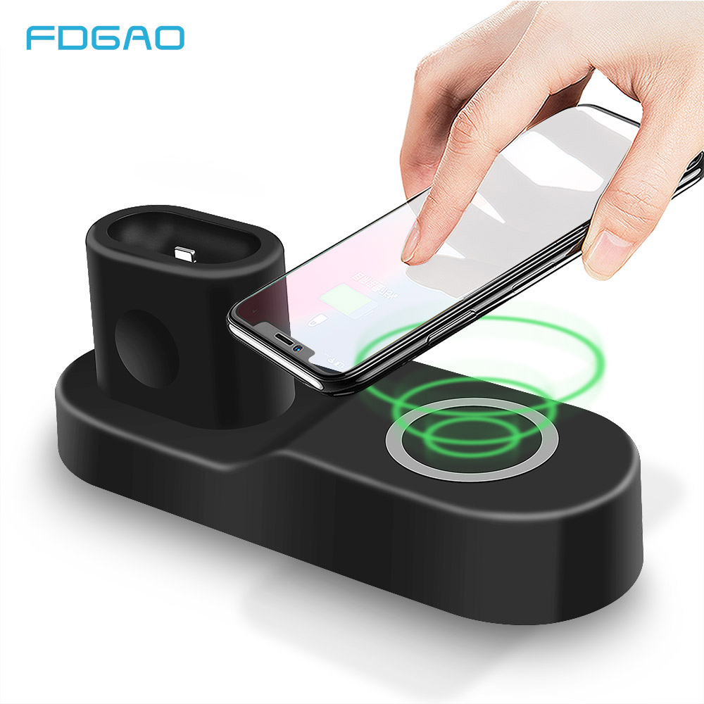 FDGAO QI Wireless Charger Fast Charging Pad For IPhone 8 X XR Xs Max For Apple Watch 1 2 3 For AirPods For Samsung S9 S8