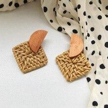2019 New Arrival Korean Style Handmade Wooden Straw Weave Rattan Vine Braid Drop Earrings Fashion Geometric Long