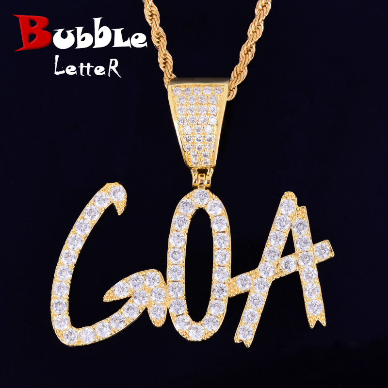 Custom name Necklace for Women Sharp Bubble Letter Pendant Hip Hop Jewelry|Customized Necklaces| - AliExpress