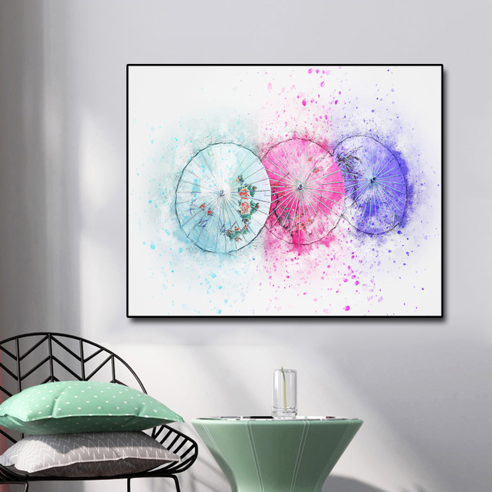 Watercolor Colorful oil paper umbrella Canvas Painting Calligraphy Prints Home Decor Wall Art Picture For Living Room Bedroom