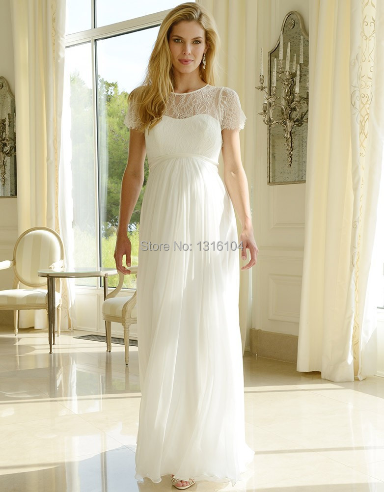 Popular empire waist wedding dresses with cap sleeves buy for Inexpensive maternity wedding dresses