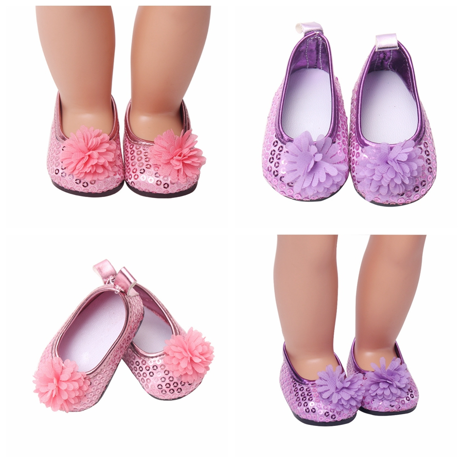 New Fashion Baby Sequins Flower Doll shoes 7cm Manual Shoes Lovely 43cm Dolls Born and 18 American Accessories