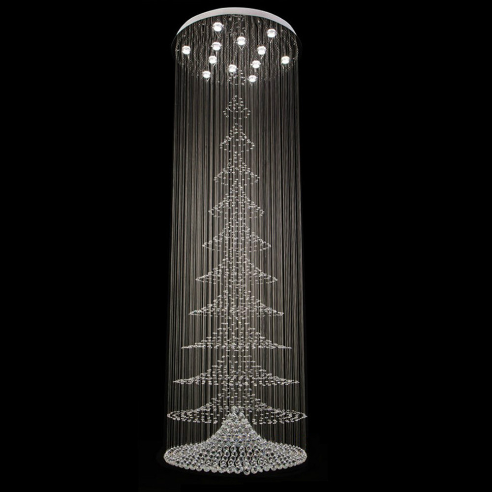 Lange treppen moderne kristall kronleuchter dia80cm led halle kristall lampen luxus lüster de cristal