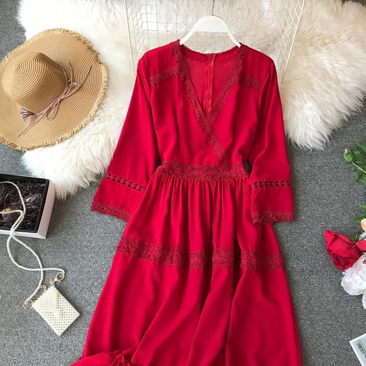 Women Bohemian Dress Lady Half Sleeve V Neck Red and White Beach Holiday Elegant Vestidos E152 21