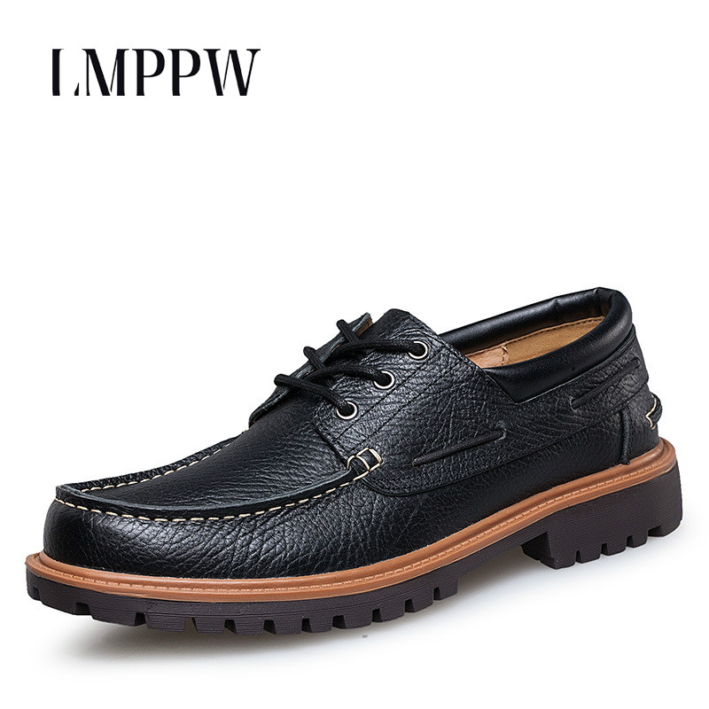 2019 Big Size Italian Brand Genuine Leather Men Shoes Fashion Business Leisure Oxford Luxury Design Black Brown Flats