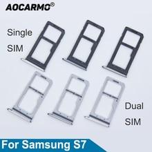 Aocarmo одиночный/двойной металлический пластиковый Nano Sim лоток для карт Слот держатель для samsung Galaxy S7 G930 G930F золото/серебро/серый