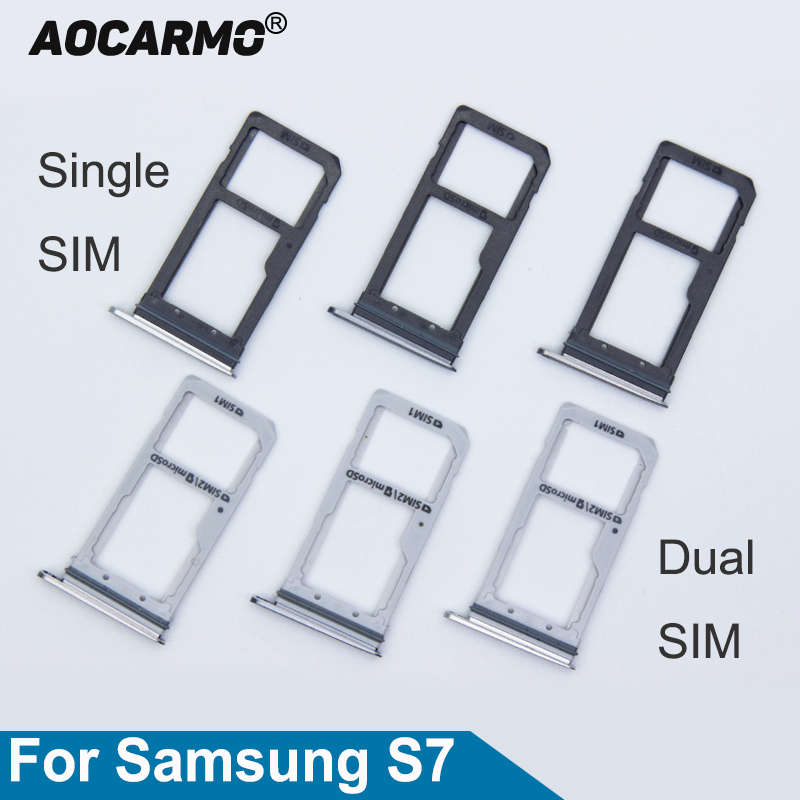 Aocarmo Single/Dual Metal Plastic Nano Sim Card Tray Slot Holder For Samsung Galaxy S7 G930 G930F Gold/Silver/Grey