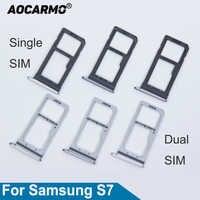Aocarmo Single/Dual Metall Kunststoff Nano Sim Karten-behälter Slot-Halter Für Samsung Galaxy S7 G930 G930F Gold/ silber/Grau