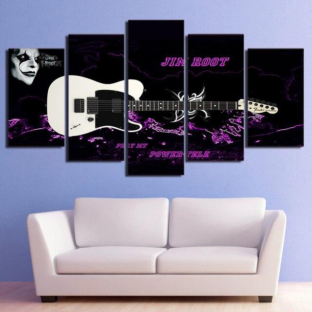 Wandbild Drucken Malerei Modulare Poster Leinwand 5 Panel Musikinstrument Gitarre Rahmen Kunst Fr Wohnzimmer Home Decor