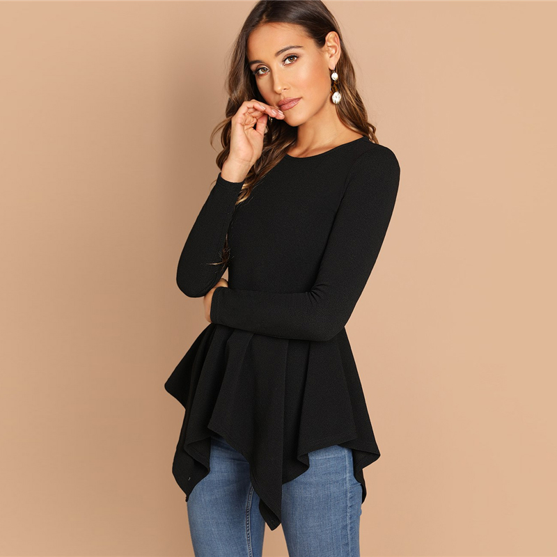 ccf32d877a72 Fashionable Black Plain Round Neck Long Sleeve Tops For Women ...