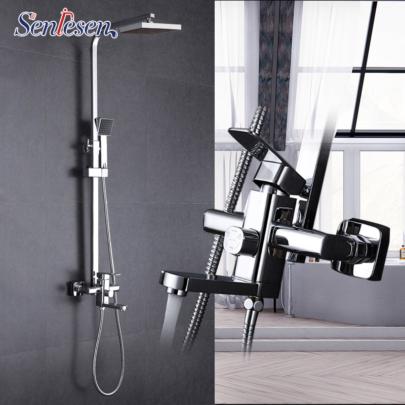 Senlesen Chrome Brass Shower Faucet 8'' Shower Head W/ Tub and Hand Shower Para Bathroom Shower Set Hot and Cold Water Mixer Tap new chrome brass water pressure boosting bathroom rain 8 shower mixer tub faucet shower set 54000 02
