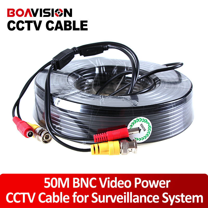 1 x 165FT/50M Black CCTV Security Surveillance Camera Video Power Cable coaxial cable for CCTV