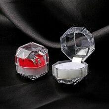 1 шт. 4*4 см кристалл акриловые портативные прозрачные кольца коробка для показа сережек Свадебные ювелирные изделия посылка Коробка кольцо Органайзер коробка для хранения