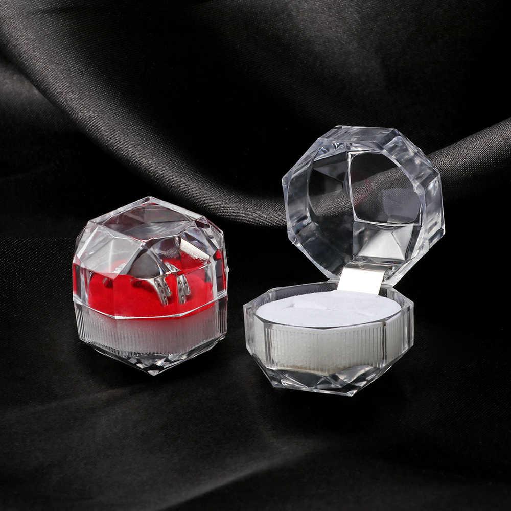 1 Máy Tính 4*4 Cm Pha Lê Acrylic Di Động Trong Suốt Nhẫn Bông Tai Hộp Hiển Thị Cưới Trang Sức Gói Hộp Nhẫn Tổ Chức hộp Bảo Quản