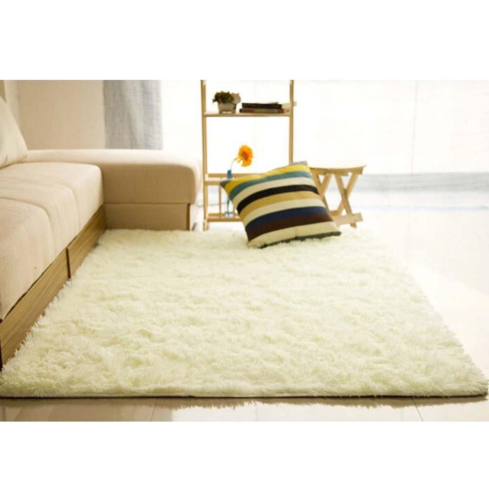 Fluffy Rugs Anti Skiding Shaggy Area Rug Dining Room Carpet Floor Mats White