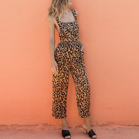 2019 New Women Fashion Leopard Printing Jumpsuits Backless Spaghetti Strap Jumpsuits Playsuits & Bodysuits
