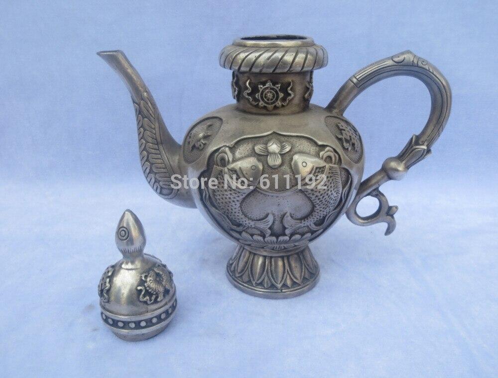 8.3 Pulgadas de alta tallados a mano la colección de Arte Popular dos peces tetera, Antiguo tíbet plata pote del vino del metal artesanías - 4