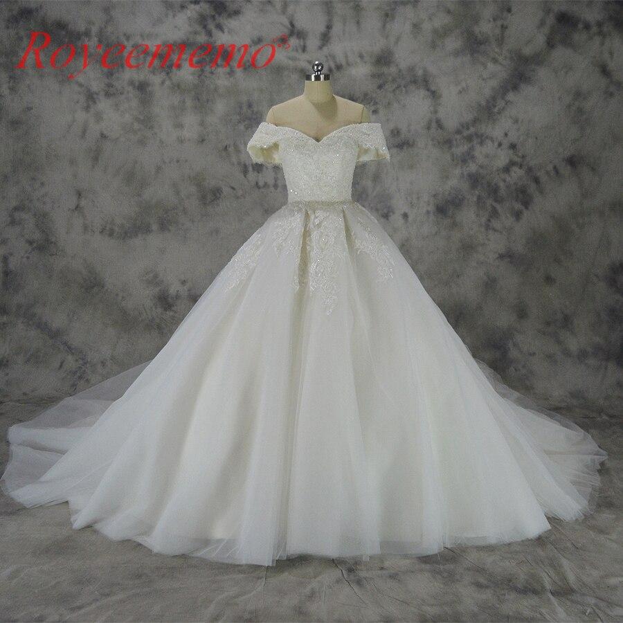 Vestido de Noiva new lace ball gown wedding dress off the shoulder sleeves wedding gown custom