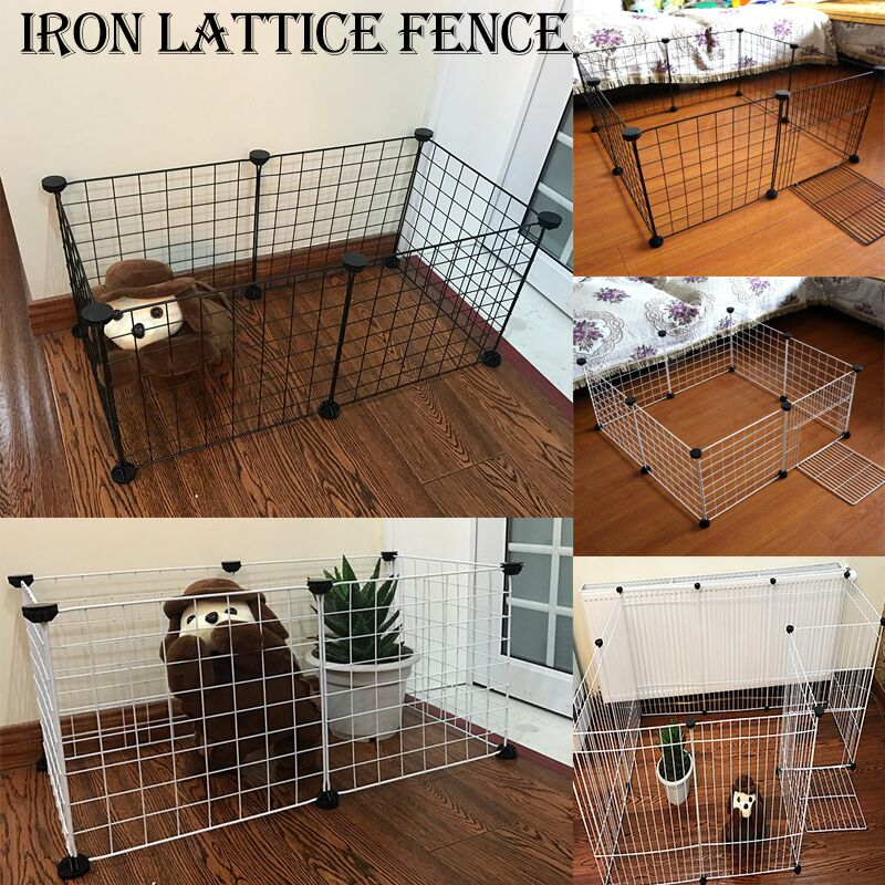 Portable DIY Pet Playpen Animal Crate Metal Wire Kennel Extendable Fence Bunny Cage For Puppy Rubbit Small Pen