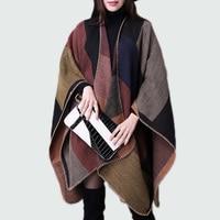 Cardigan Female 2017 Winter Ladies Cape Poncho Shawl Sweaters Women Knitted Loose Plaid Cardigan Female Knitwear