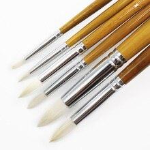 6 шт набор круглых острым с ворсом на кончиках козьей шерсти шерсть художников для краски гуашь, акварель темперная Живопись принадлежности для рисования