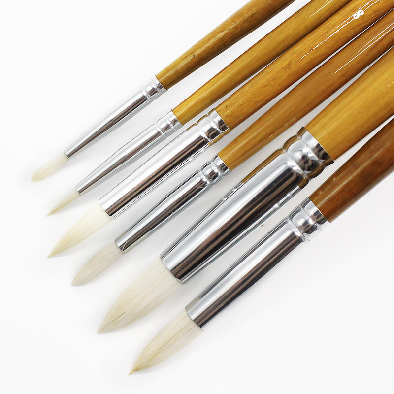 6 Pcs Set Round Pointed Tip Brushes Goat Hair Wool Artists For Paints Gouache Watercolor Tempera Painting Supplies Drawing