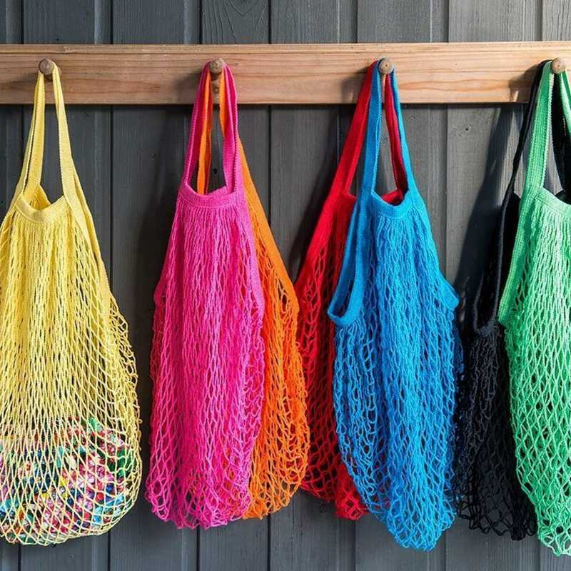 Hot Sale New Mesh Woven Shopping Bag Reusable String Fruit Storage bags Totes Women Shopping Shop Grocery Tote Bag