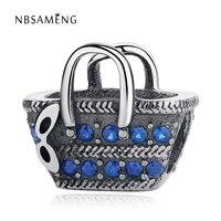 New 925 Sterling Silver Picnic Basket Bead With Blue Crystal Beads Fit Original Pandora DIY Bracelets